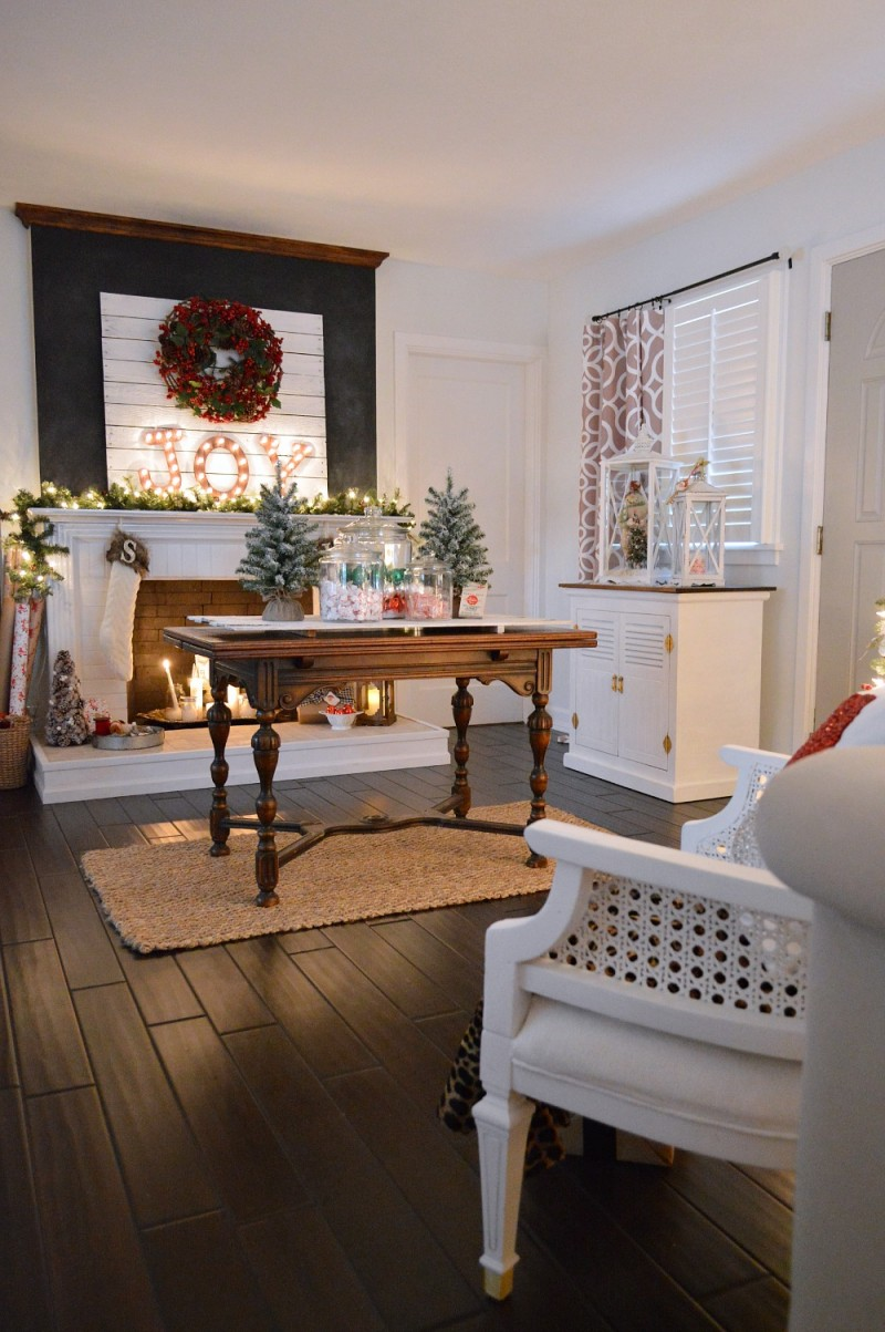 JOY Chalkboard Fireplace Mantel and Vintage Entryway Butterlfy Table - Cottage Christmas Country Living Home Tour