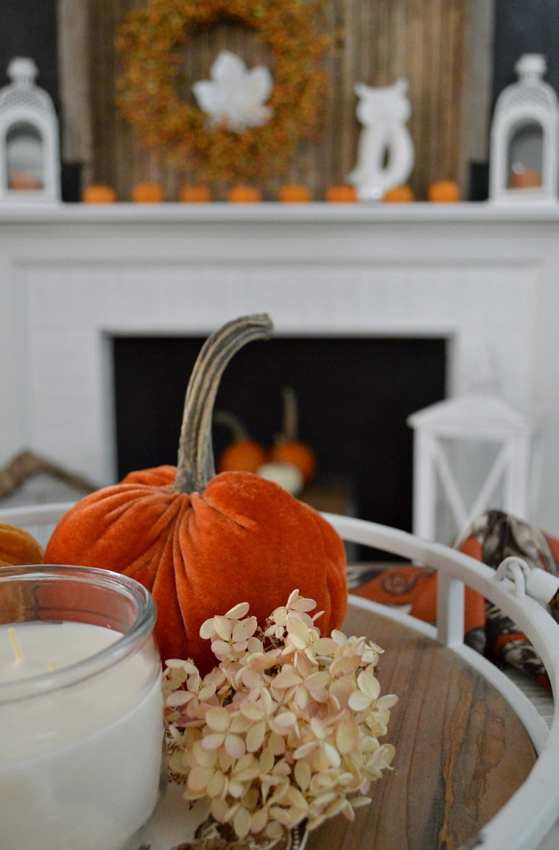 Love this vintage wood tray, flanked by lanterns and peppered with tiny pumpkins and owls. Autumn mantel fireplace decor with Better Homes and Gardens. #sponsored @bhglivebetter @bhg