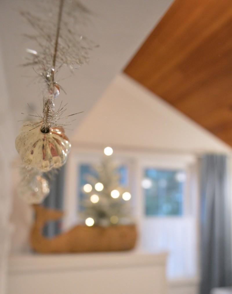 Mercury glass and tinsel garland vintage style Christmas decor