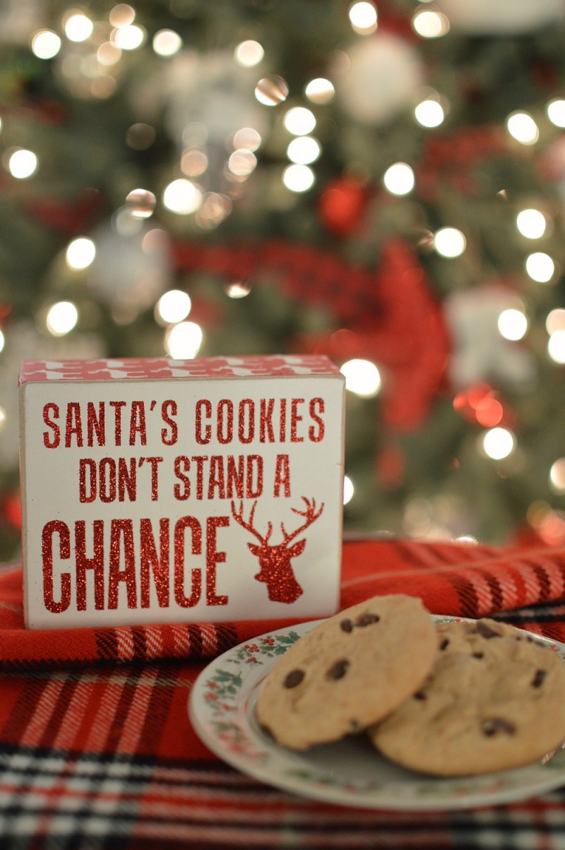 Santa's Cookies Don't Stand A Chance red glittered wood sign
