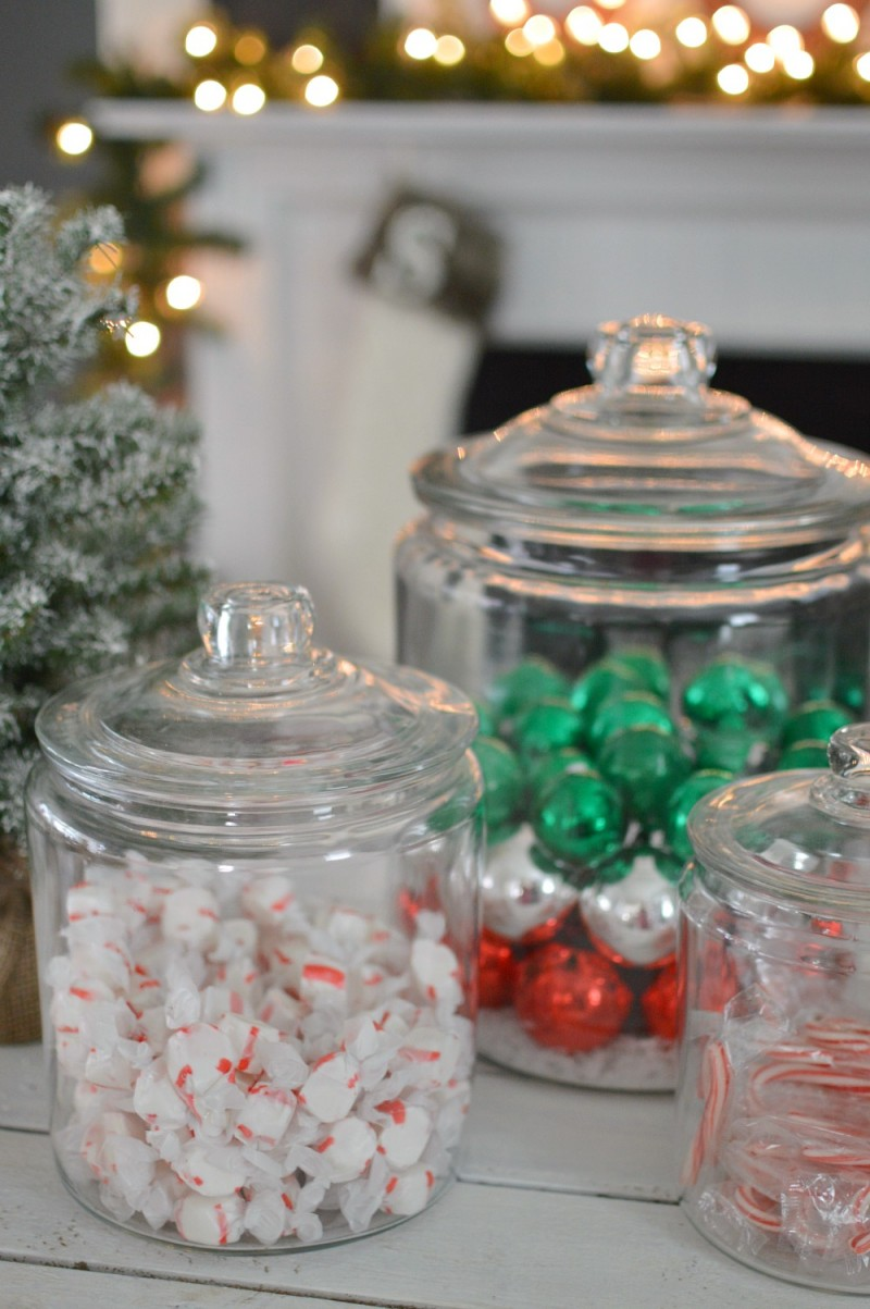 Vintage Pickle Jars with Christmas Candy and Ornaments