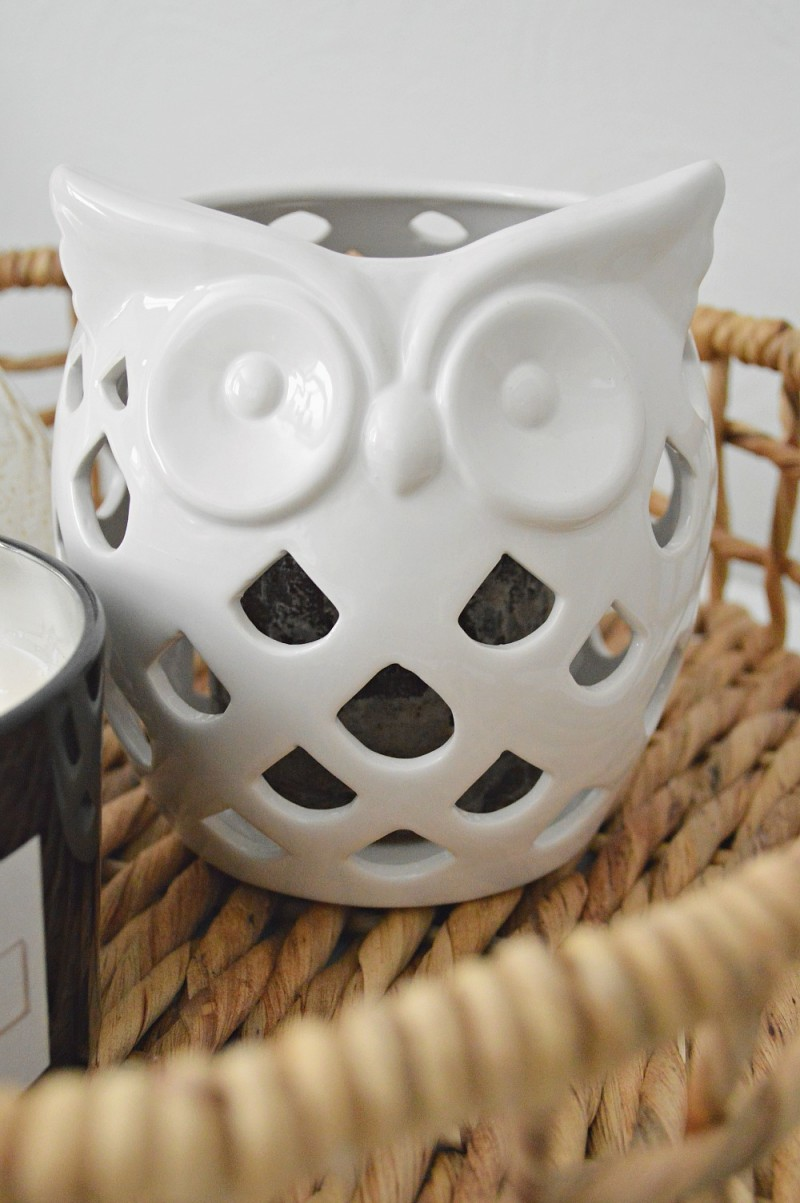 White Owl ceramic candle holder in my Autumn home. Preparing for Thanksgiving with Better Homes and Gardens at Walmart. #sponsored @bhglivebetter @bhg