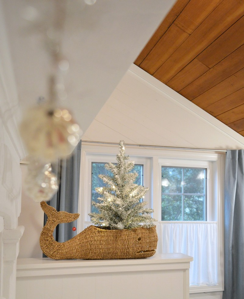 Wicker Whale Basket Coastal Cottage Christmas