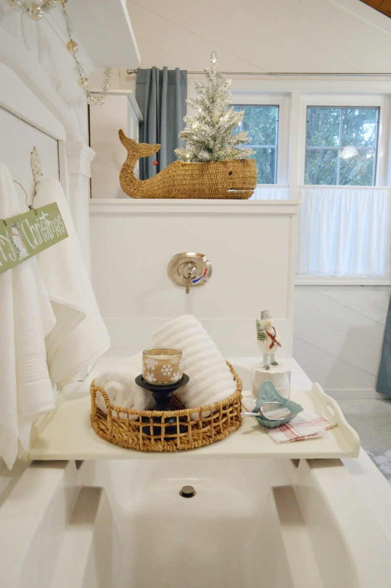 Winter bathroom with Christmas and Coastal Cottage touches in Aqua and white