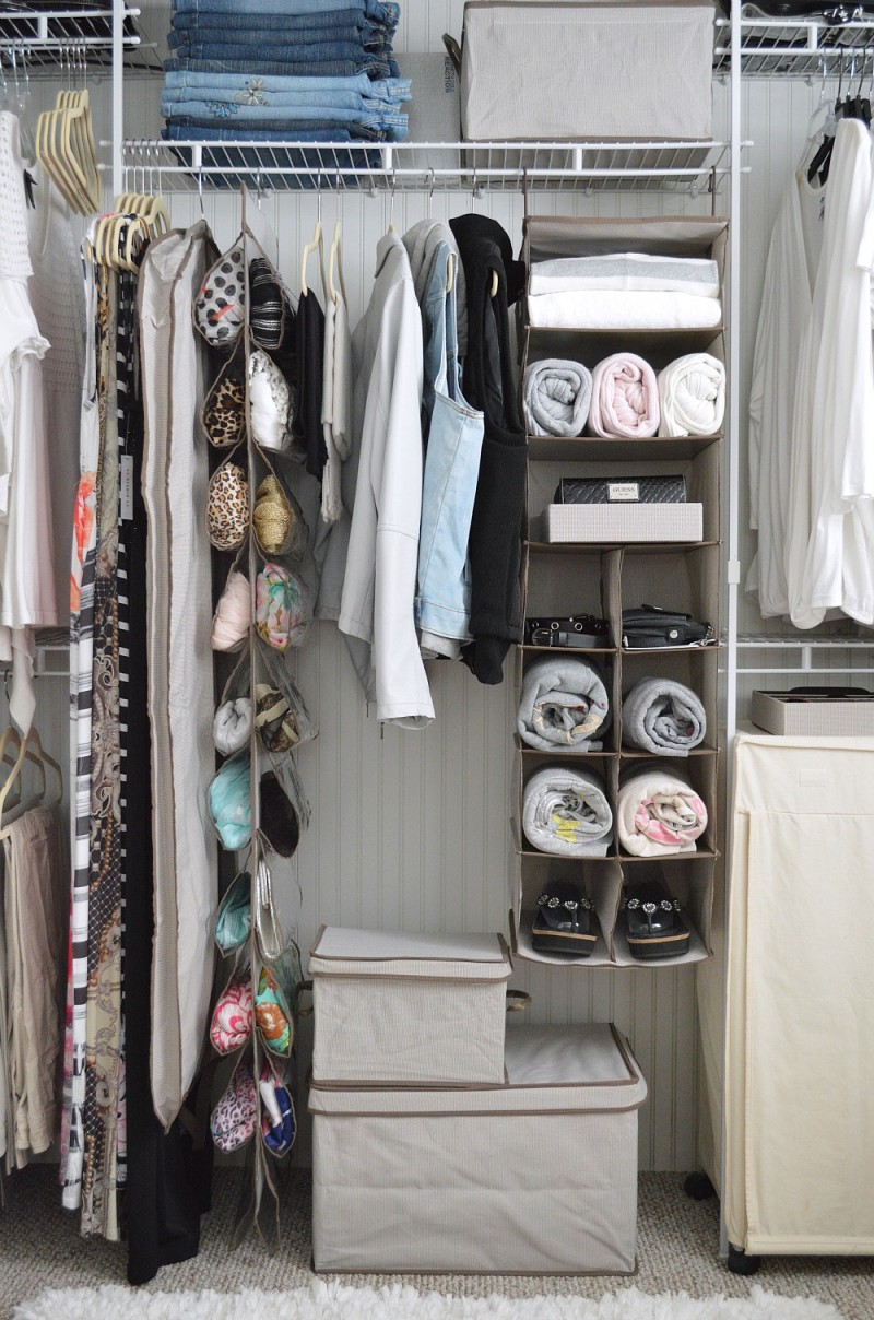 Creating a center hub in the closet keeps most-used items organized and easily accessible.