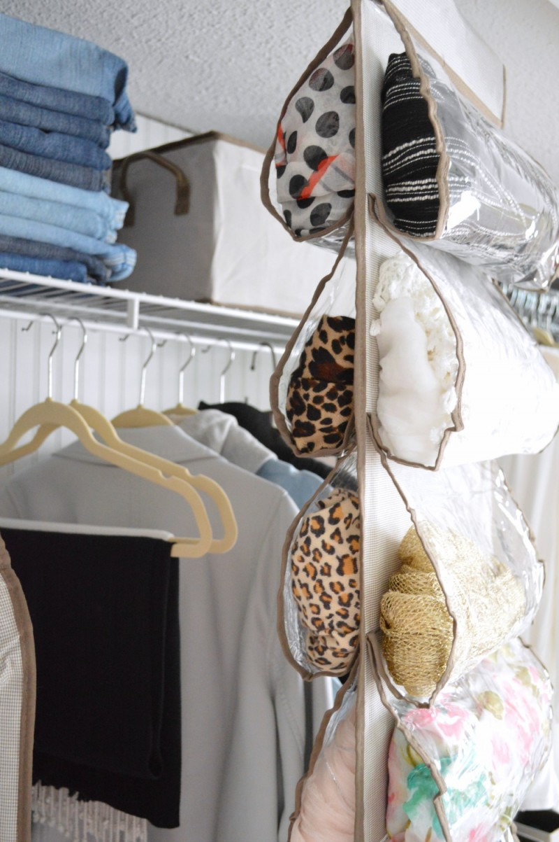 This Clear Hanging Shoe Storage Makes A Perfect Scarf Organizer!