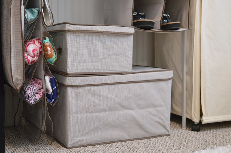 Collapsible storage boxes make organizing seasonal items a cinch.