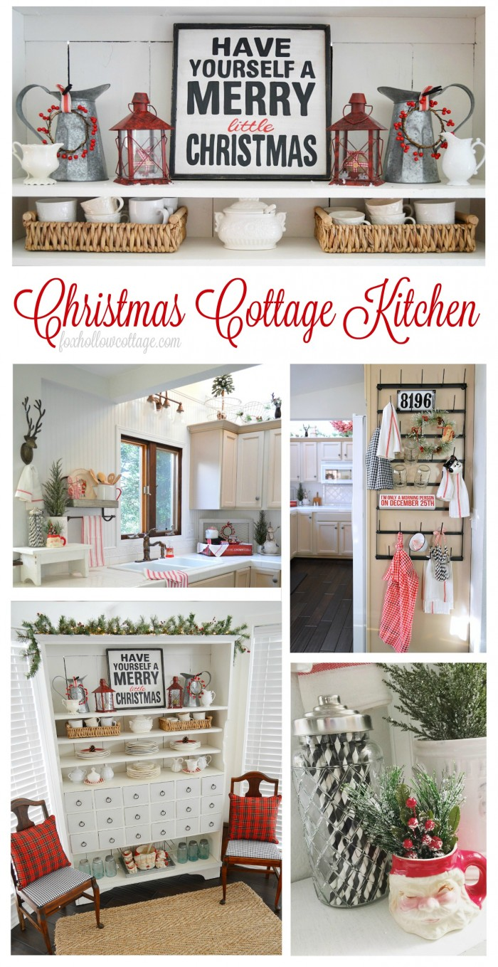 Christmas Kitchen at Fox Hollow Cottage - Holiday decorating ideas using lots of vintage, plaid and red!