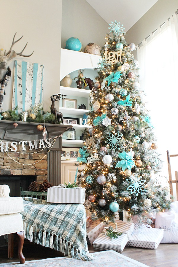 Winter Wonderland Frosty Flocked Christmas Tree in Aqua by Refresh Restyle blog | A Fox Hollow Cottage #foxhollowfridayfavs Instagram feature
