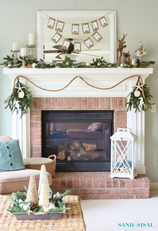 Natural Coastal Christmas Fireplace Mantel by Sand And Sisal | A Fox Hollow Cottage #foxhollowfridayfavs Instagram feature