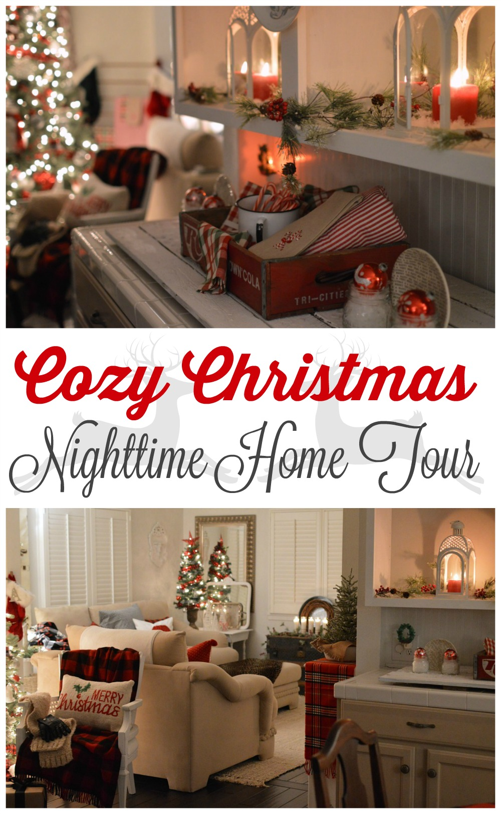 Cozy Christmas Cottage Nighttime Home Tour - tour a little house twinkly in shimmering lights and the glow of candles.