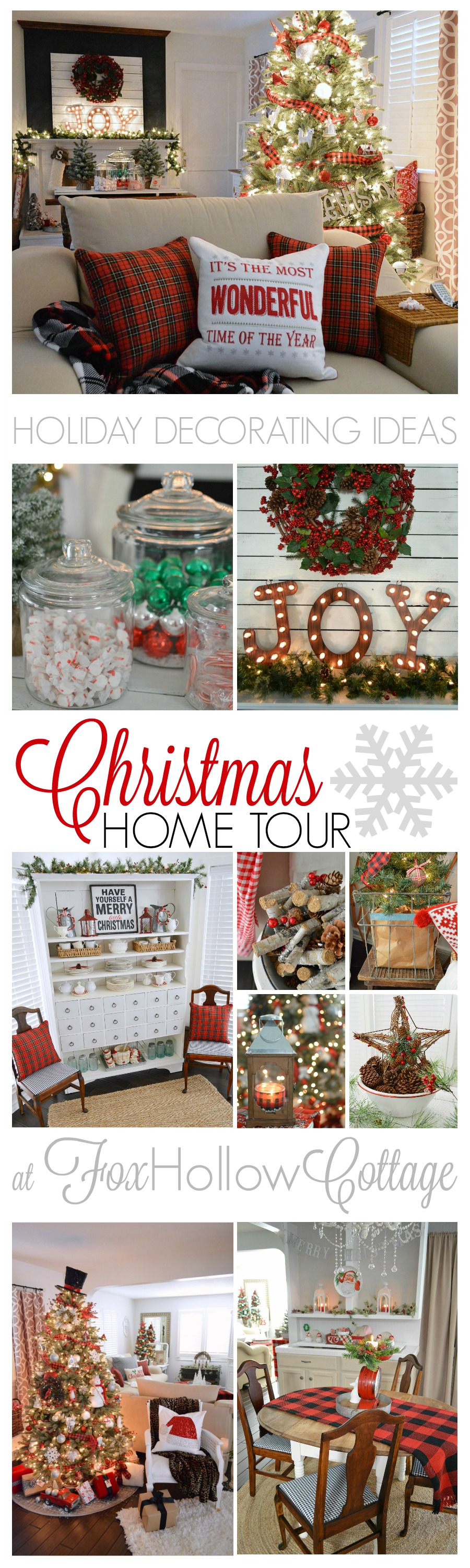 Christmastime at Fox Hollow Cottage. Visit this 1920's cottage home, decorated in traditional Christmas red with splashes of vintage & DIY accompanied by touches of cozy plaid! Find these Holiday Decorating Ideas and More in the Cherished Christmas Home Tour with @countryliving at foxhollowcottage.com