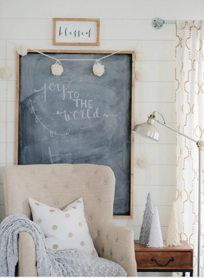 Joy To The World Christmas Chalkboard and Soft Neutral Holiday Decor by The Collected House | A Fox Hollow Cottage #foxhollowfridayfavs Instagram feature