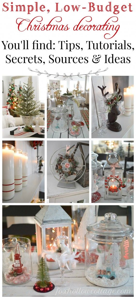 Simple Low Budget Christmas Decorating - tips tutorials secrets sources and ideas-Affordable, vintage, thrifted holiday home