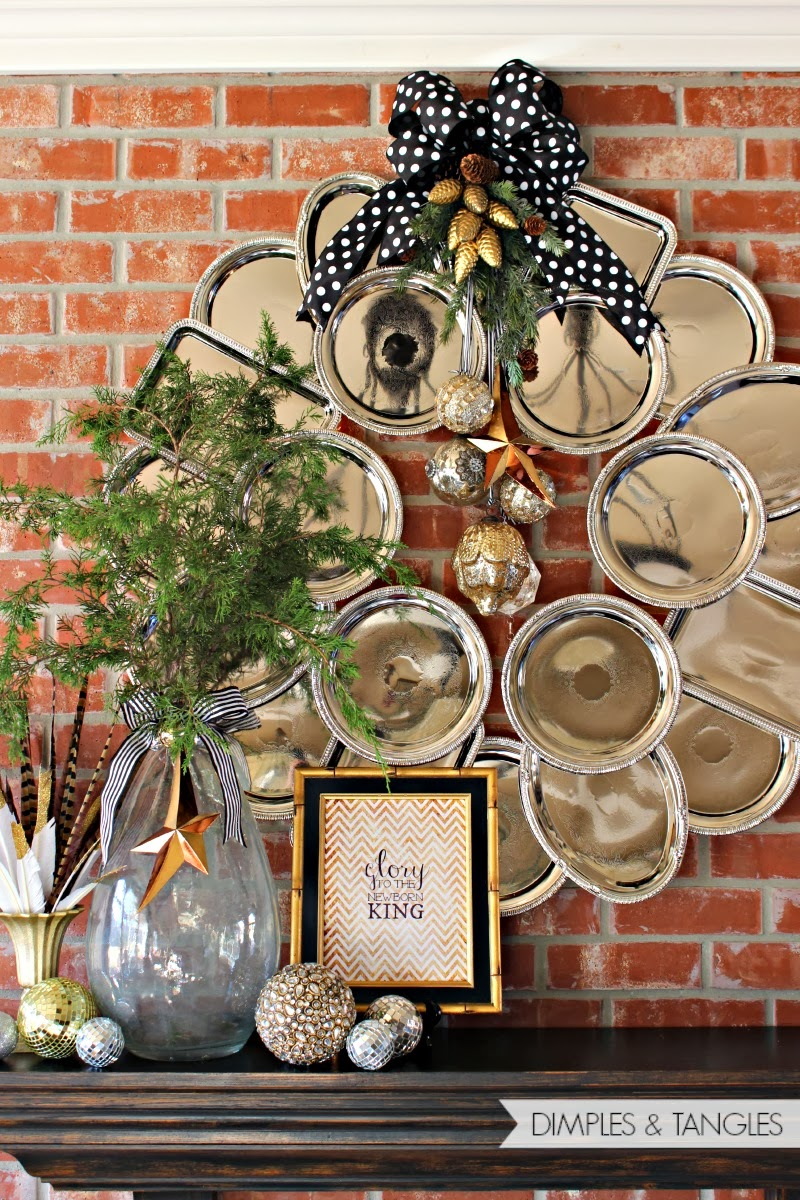 DIY Pretty Silver Christmas Wreath Out Of Dollar Tree Trays by Dimple and Tangles | A Fox Hollow Cottage #foxhollowfridayfavs Instagram feature