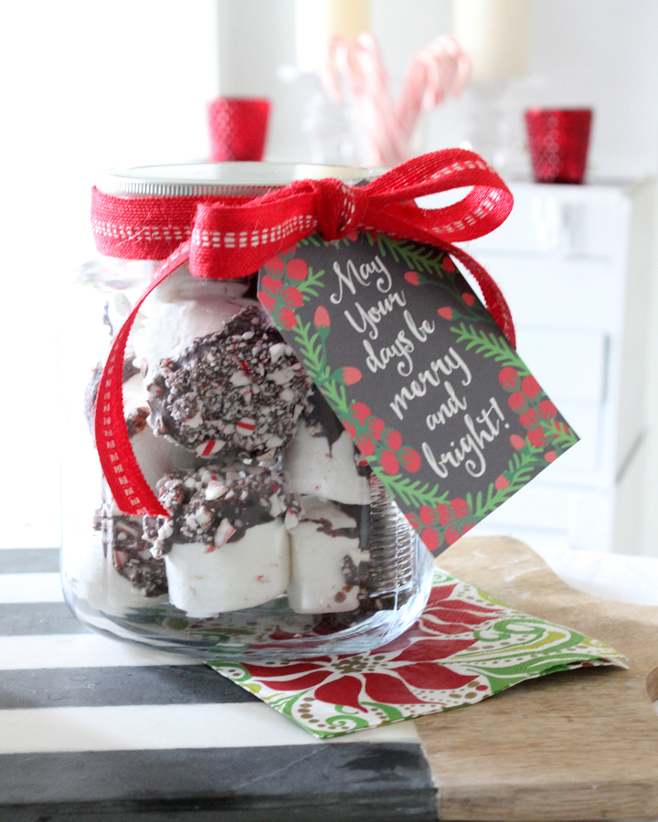 Christmas marshmallow gift with free printable from Tonality Designs | A Fox Hollow Cottage #foxhollowfridayfavs Instagram feature