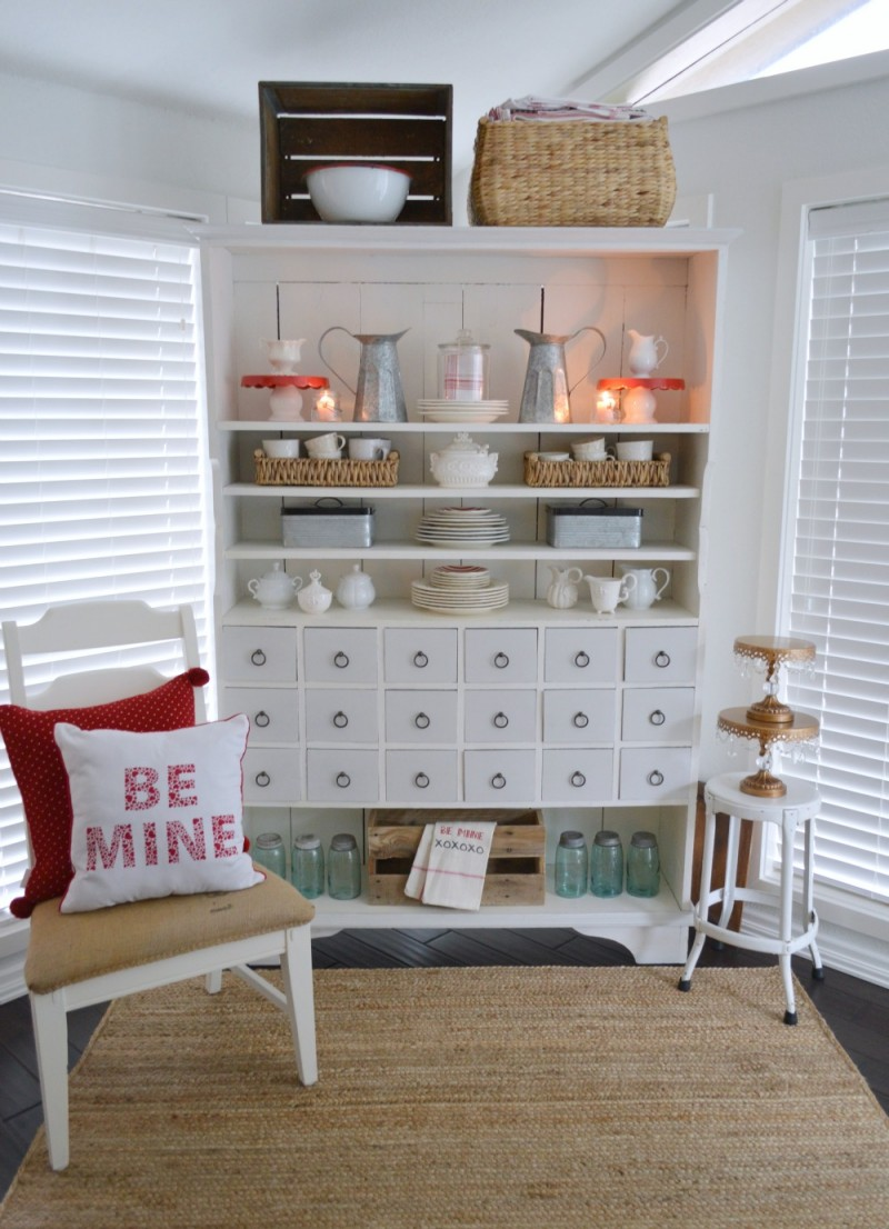 1 Fox Hollow Cottage Valentine's Day Decorating - Apothecary Cabinet in the sun room