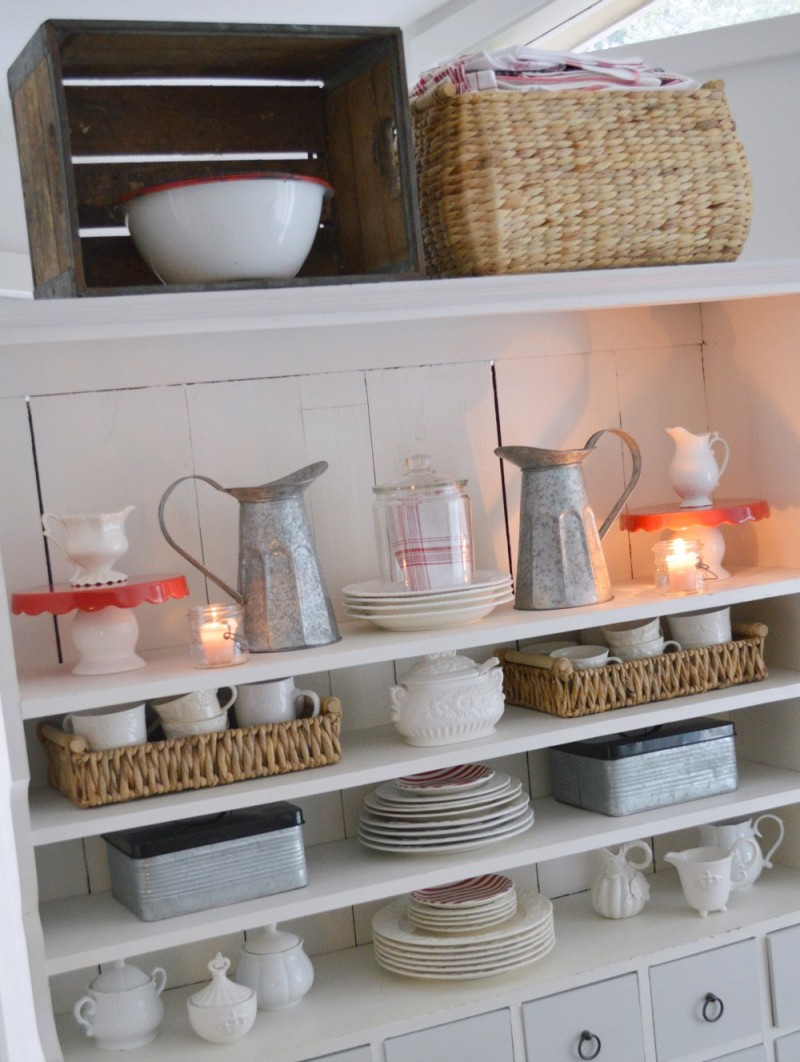 10 The apothecary cabinet decorated for Valentine's Day - foxhollowcottage.com - Maison Blanche painted furniture makeover Siver Mink