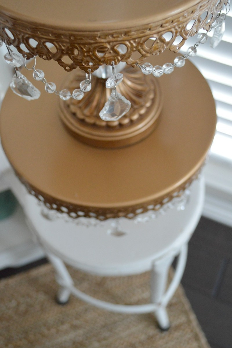 3 Fox Hollow Cottage Valentine's Day Decorating - Apothecary Cabinet, Gold Crystal Drop Cake Stands on Vintage Metal Step Stool