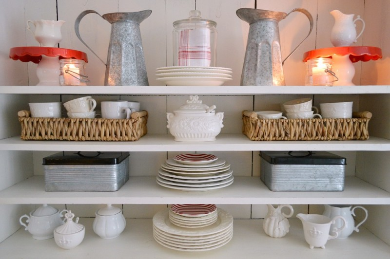 4 Fox Hollow Cottage Valentine's Day Decorating - In the sun room, apothecary cabinet with white dishes and candles