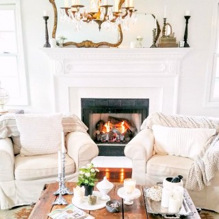 Living And Loving Cottage Style Home Tour - Living room, frieplace, vintage chandelier, gold mirror