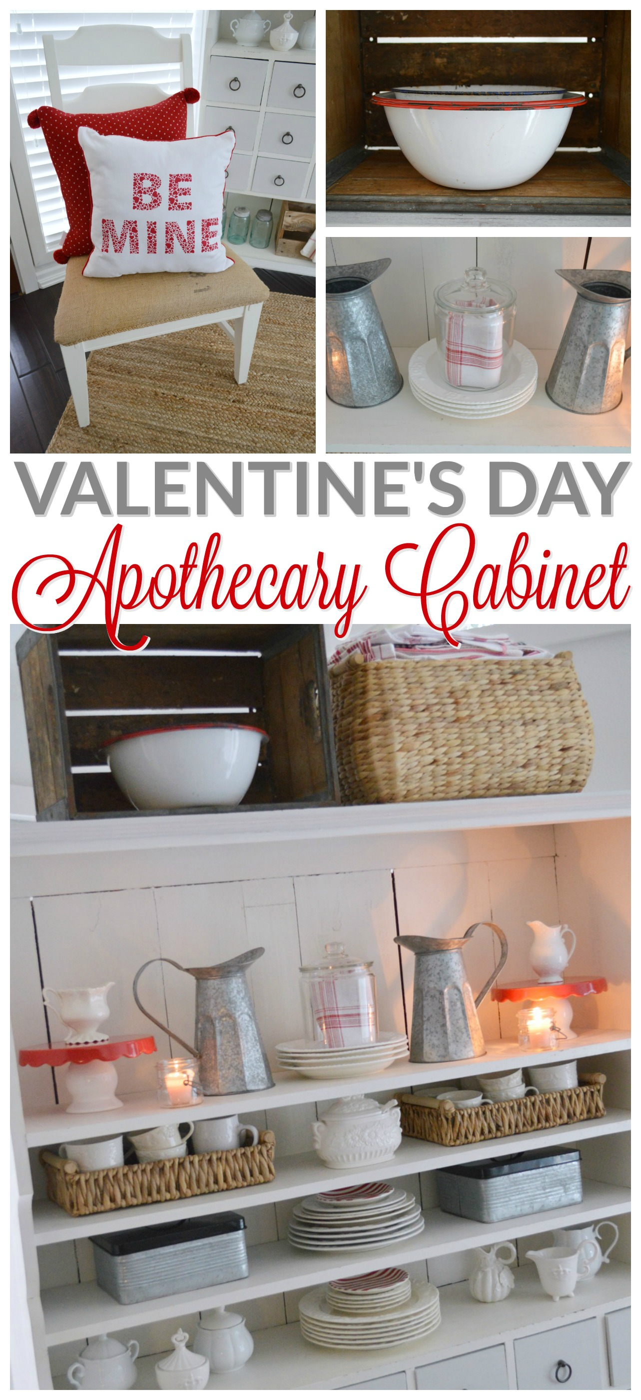 Valentine's Day Decorating at foxhollowcottage.com - farm style apothecary cabinet - Fox Hollow Cottage