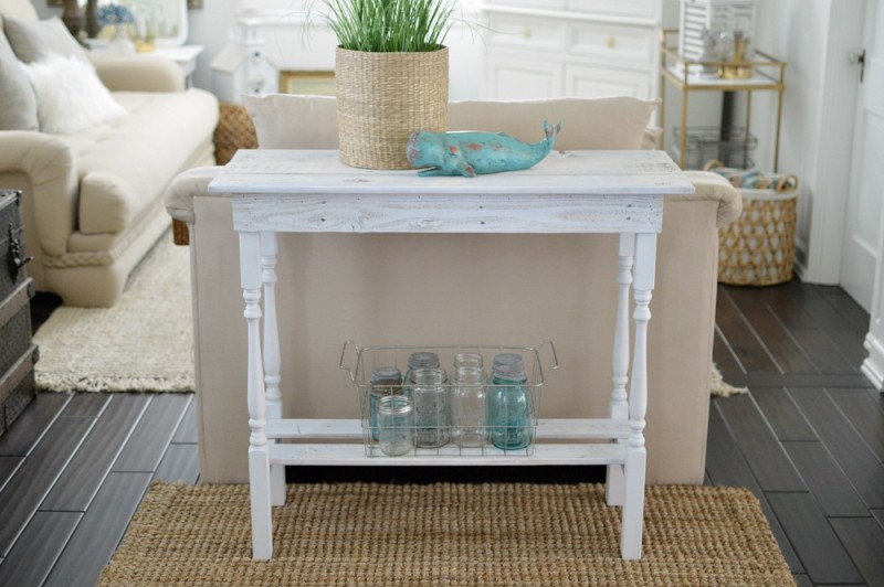 Coastal Style Cottage Decor Featuring A DIY White Washed Wood Entry Table    Foxhollowcottage.com