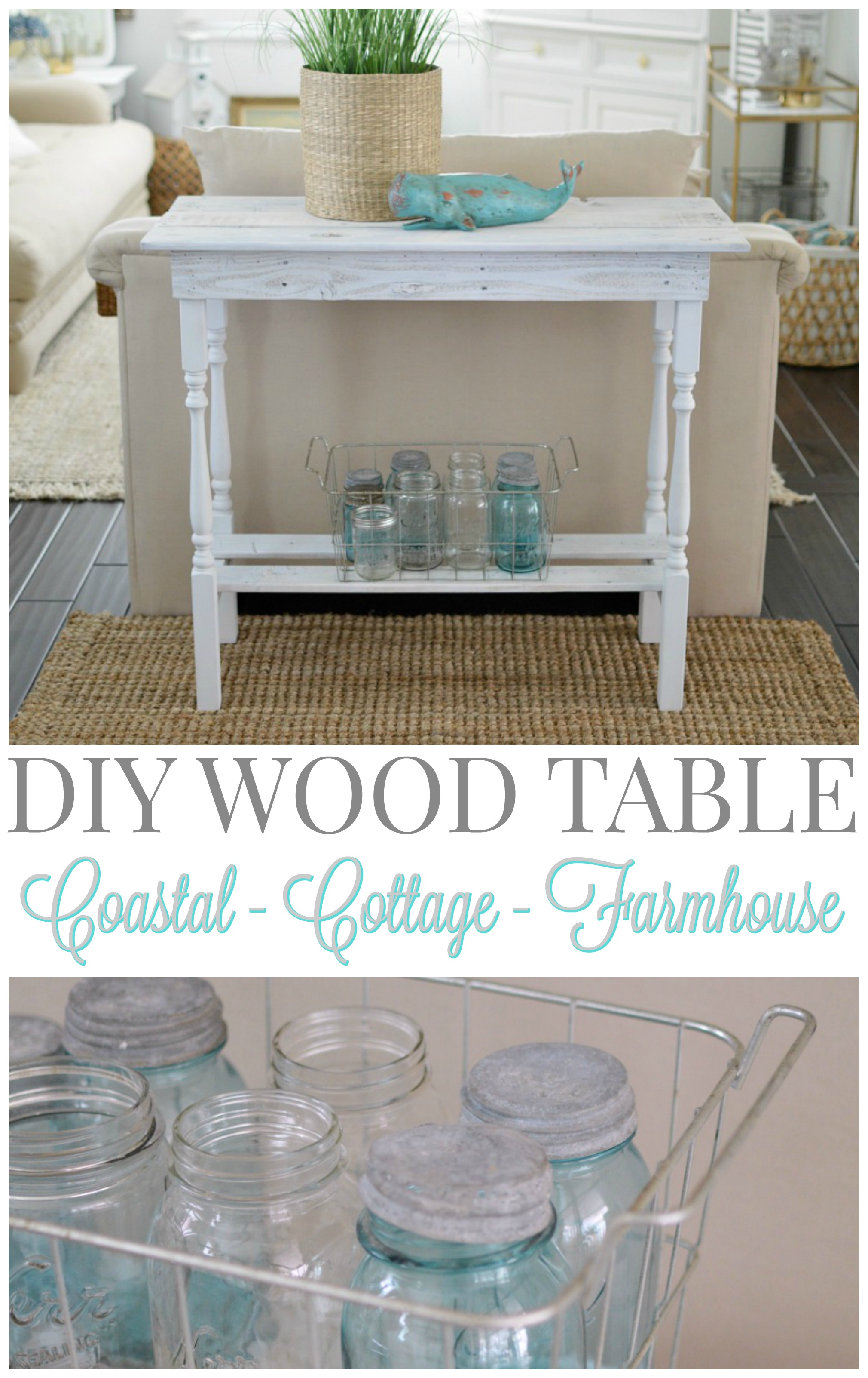 DIY coastal cottage farmhouse wood table - foxhollowcottage.com Fox Hollow Cottage by Shannon Fox