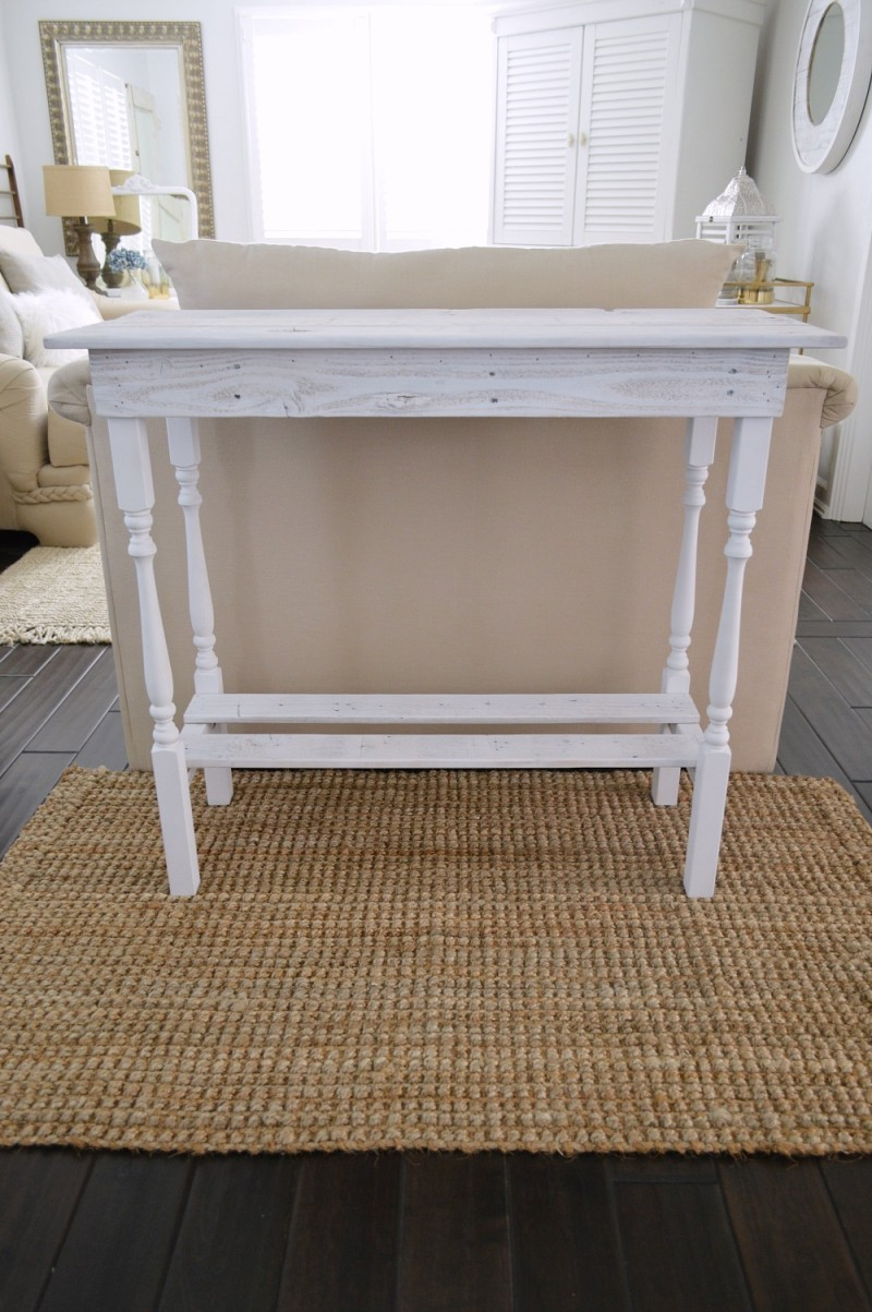DIY Console Style Table From Reclaimed Lumber   White Washed Wood Furniture    Foxhollowcottage.com