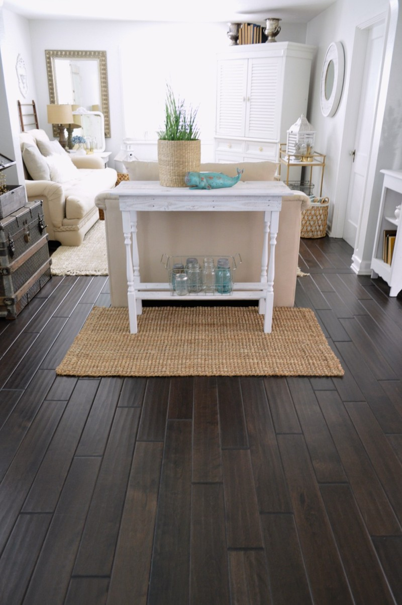 Entryway Table - DIY pallet and spindle leg console - dark wood floors and coastal decor - foxhollowcottage.com Fox Hollow Cottage by Shannon Fox