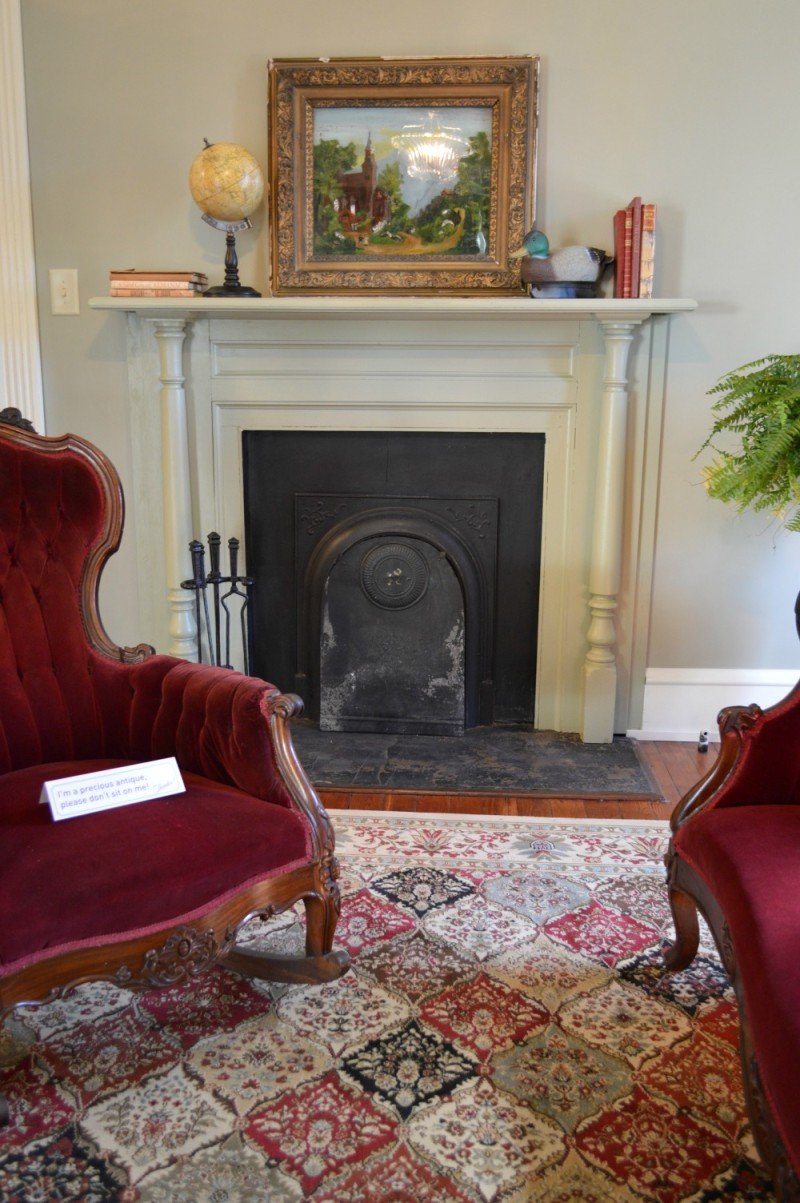 Gentlemens parlor - Fireplace - Southern Romance Phantom Screen Historic Home - Mobile Alabama
