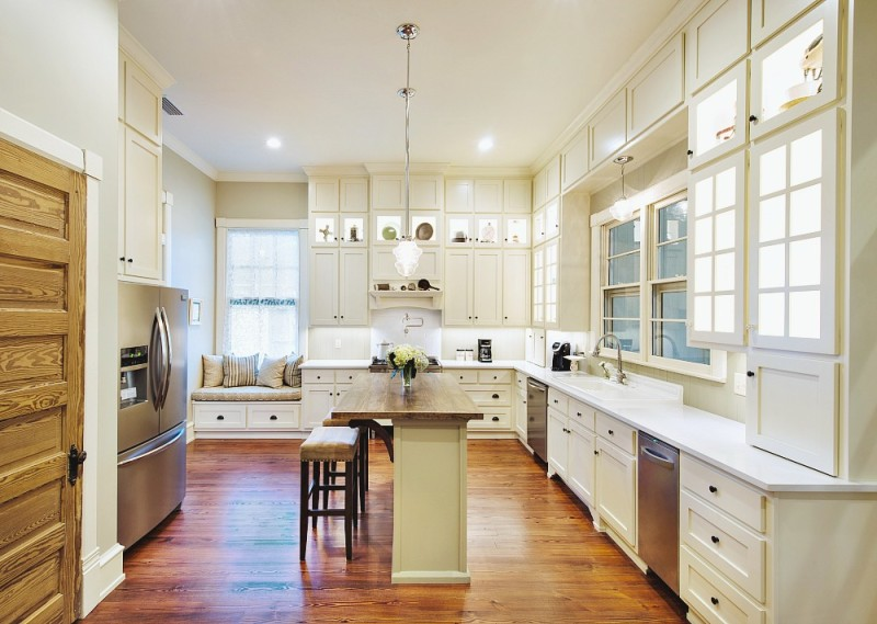 Kitchen-Makeover-Reveal-White-floor-to-ceiling-cabinets-quartz-counters-vintage-restored-enamel-farm-sink-gas-range-pot-filler-wood-floors