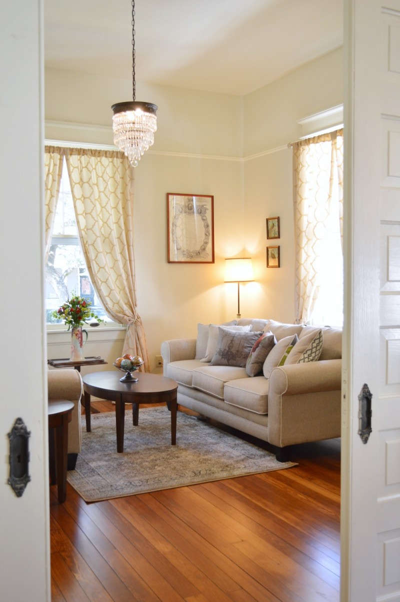 Living room at the newly restored Morgan Ford house. Southern Romance project by Phantom Screens