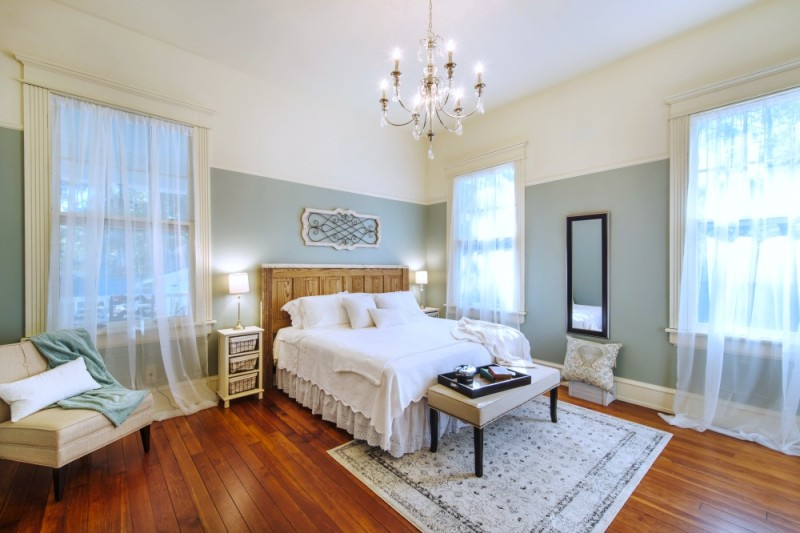 Southern Romance Fixer Upper Historic Home Makeover Renovation Reveal - Master-bedroom-in-aqua-and-white-Historic-vintage-Southern-home