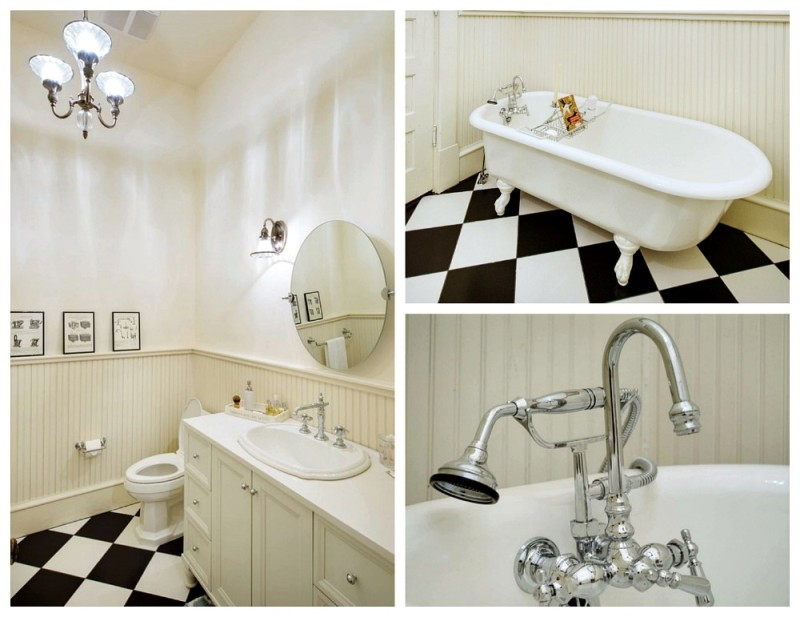 Restored and renovated vintage bathoom - Black White Color Scheme, Chrome fixtures and slavaged restored clawfoot tub