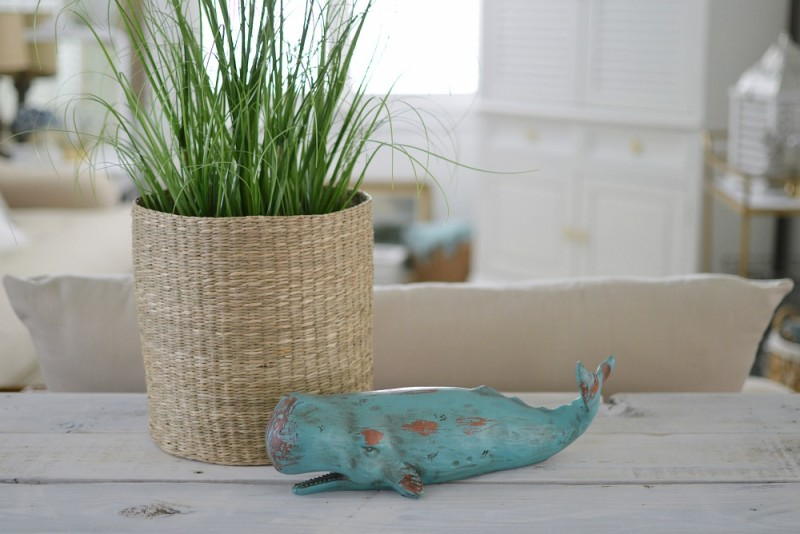 Sea grass, woven basket and aqua Whale create a soft, simple coastal look atop a white wood table - foxhollowcottage.com Fox Hollow Cottage blog by Shannon Fox
