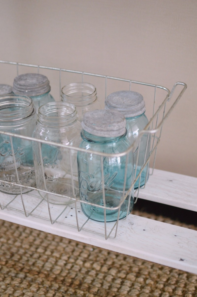 Vintage ball mason jars in an old galvanized metal basket - foxhollowcottage.com Fox Hollow Cottage blog by Shannon Fox