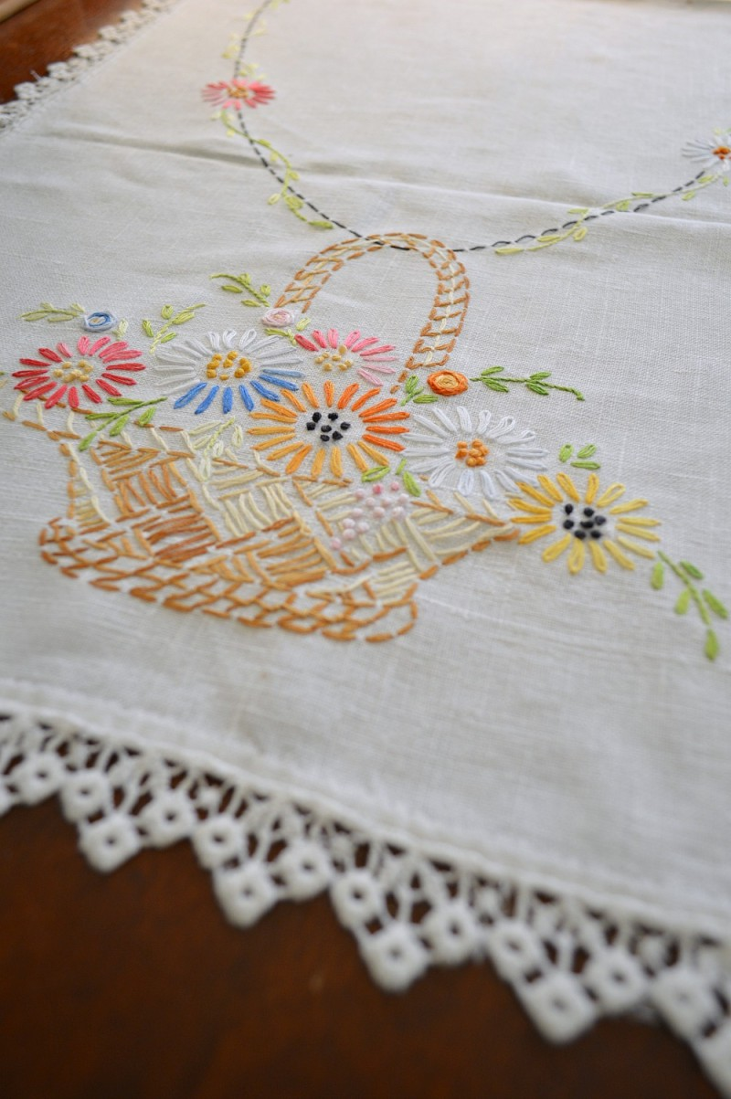 Vintage embroidered table runner - Southern Romance house in Alabama - by Phantom Screens