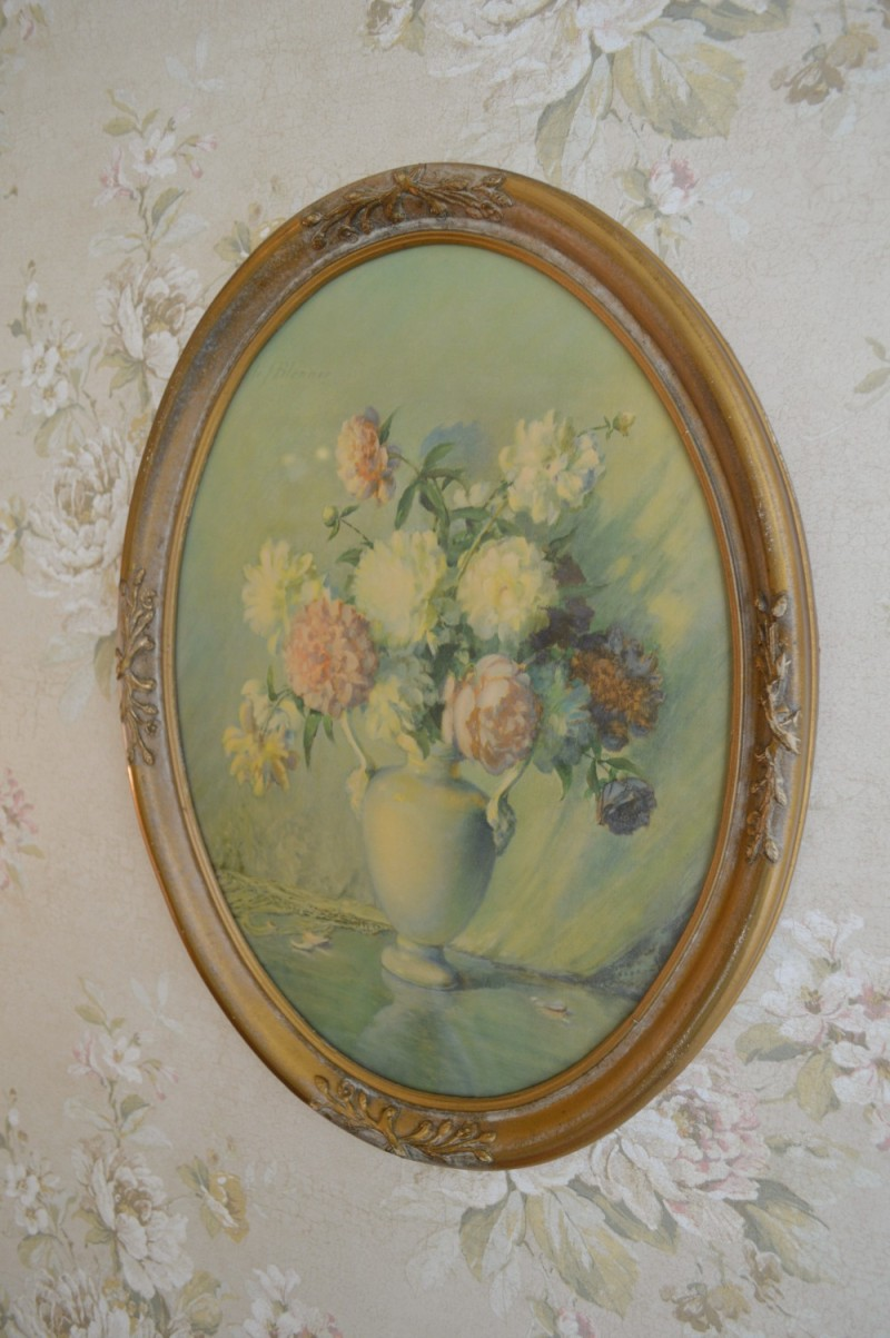 Vintage floral art and wall paper - Southern fixer upper home renovation