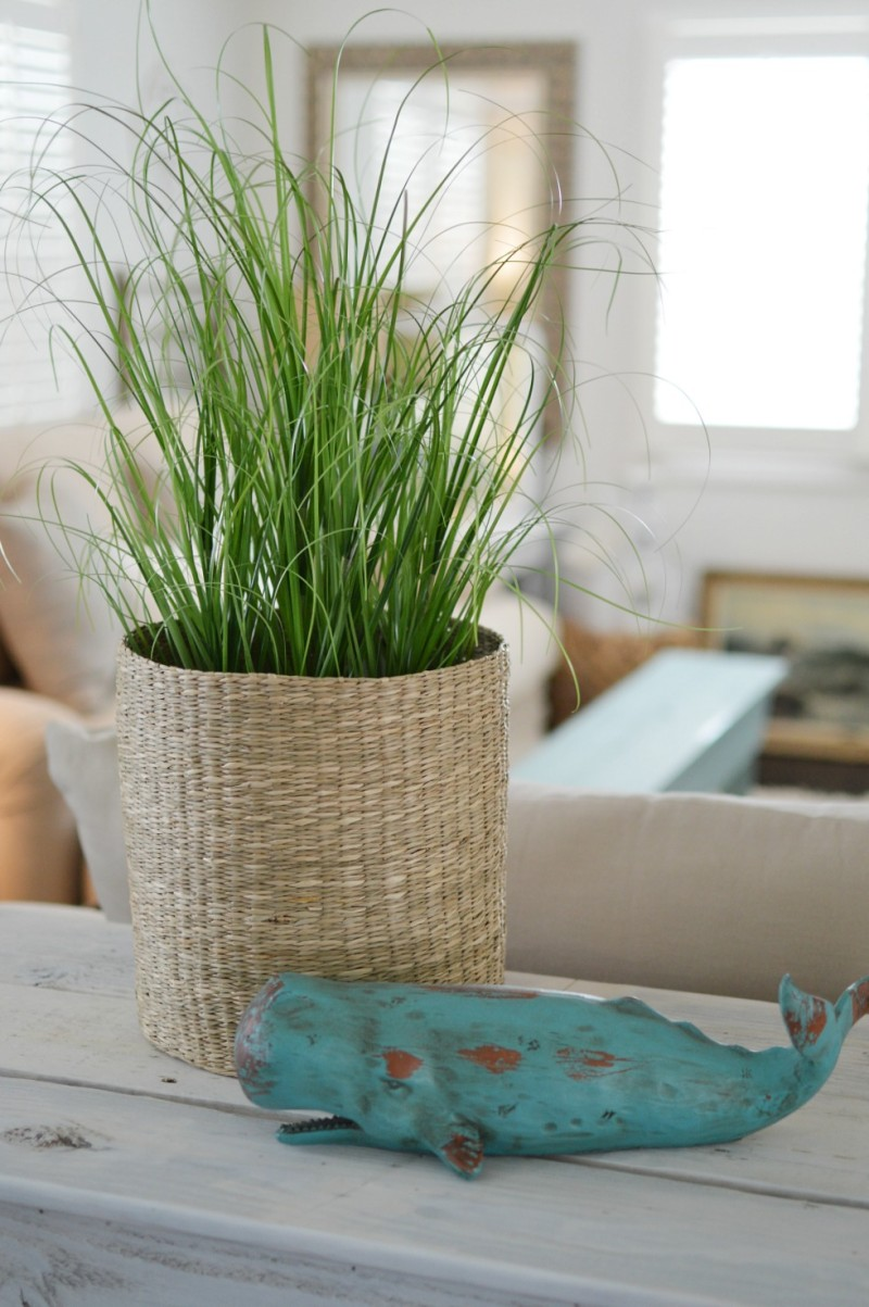 White washed wood DIY multi-use console table - Sea grass, woven basket and aqua Whale - foxhollowcottage.com Fox Hollow Cottage blog by Shannon Fox