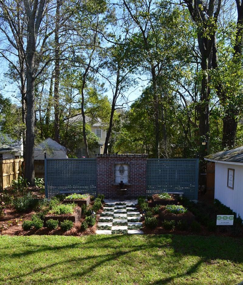 Backyard at the Southern Romance Phantom Screens idea house in Mobile Alabama
