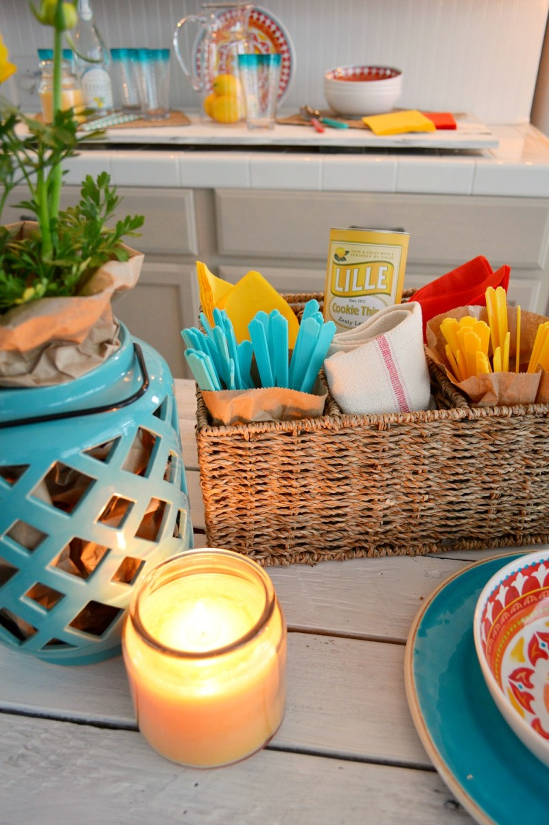 Casual indoor BBQ or party theme in red and turquoise. Easy and affordable ideas at foxhollowcottage.com