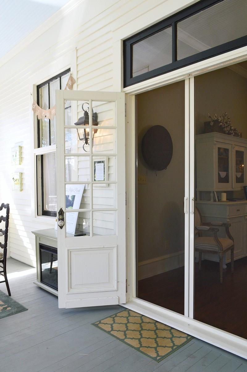 Covered Back Porch Indoor Outdoor Room With Double Door Phantom Screens    Vintage Glass Pane Doors