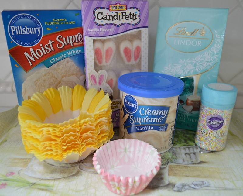 Easter bunny ear cupcakes with truffle center - foxhollowcottage.com - ingredients