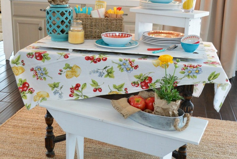 Host an INDOOR BBQ Party - Host guests indoors with bright table ware and flowers. For more ideas visit foxhollowcottage.com