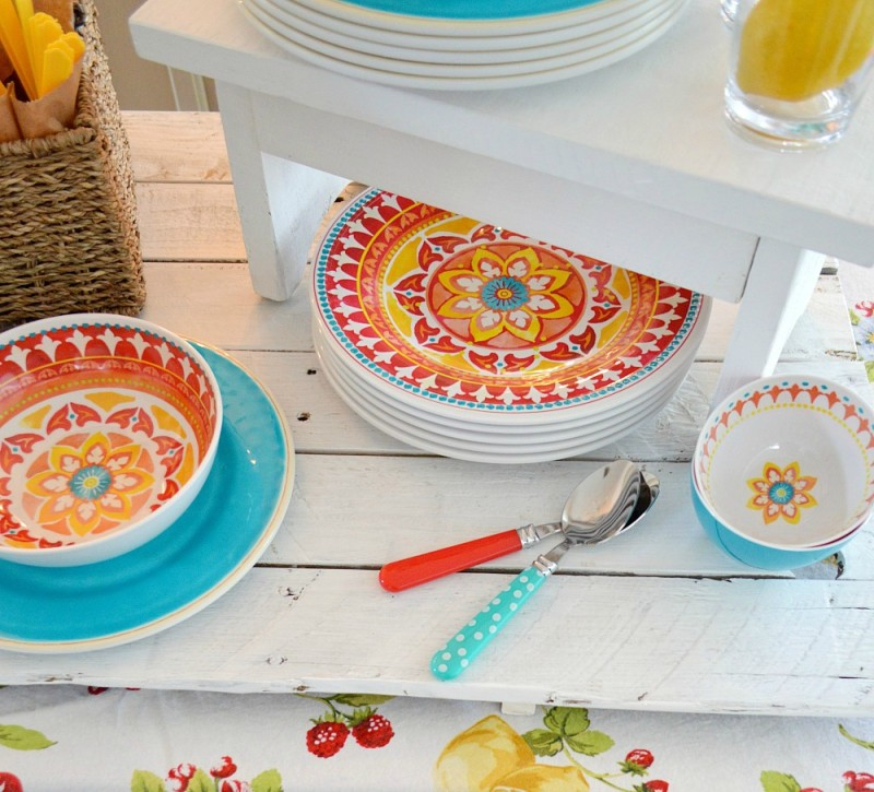 Indoor and Outdoor entertaining ideas at foxhollowcottage.com | Bright red, yellow + teal dishes look perfect for Spring and Summer.