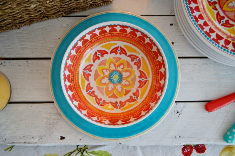 Red Medallion Cereal Bowl paired with Solid Teal Trellis Melamine Plate - Indoor Outdoor Party Ideas foxhollowcottage.com
