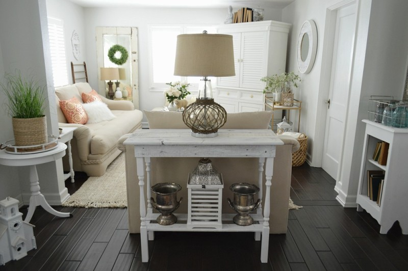 Simple cottage living room in whites and neutrals - Spring at foxhollowcottage.com - A room tour.