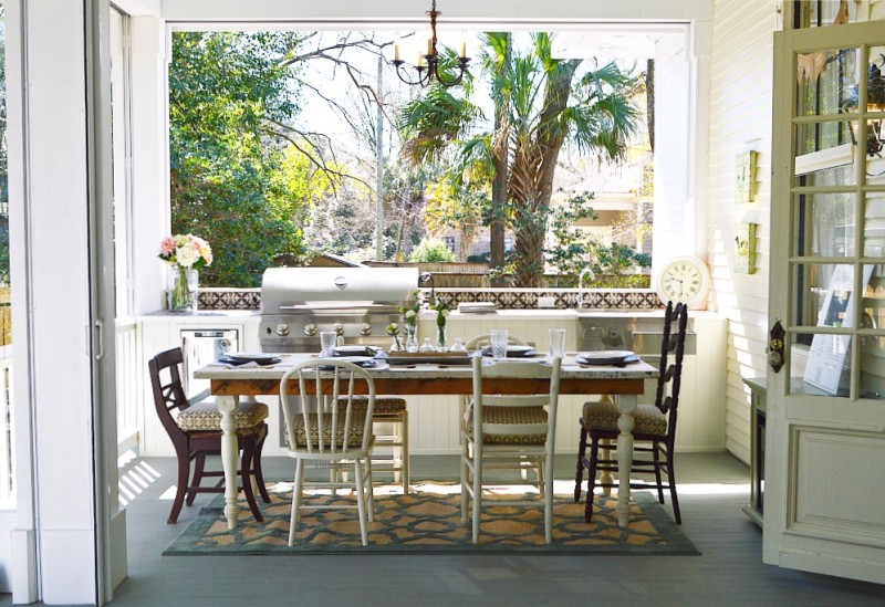 Southern Fixer Upper Back Porch Addition - Vintage Wood Door Repurposed As A Farm Table - Phantom Screens, Motorized Screens and Vinyl Covering