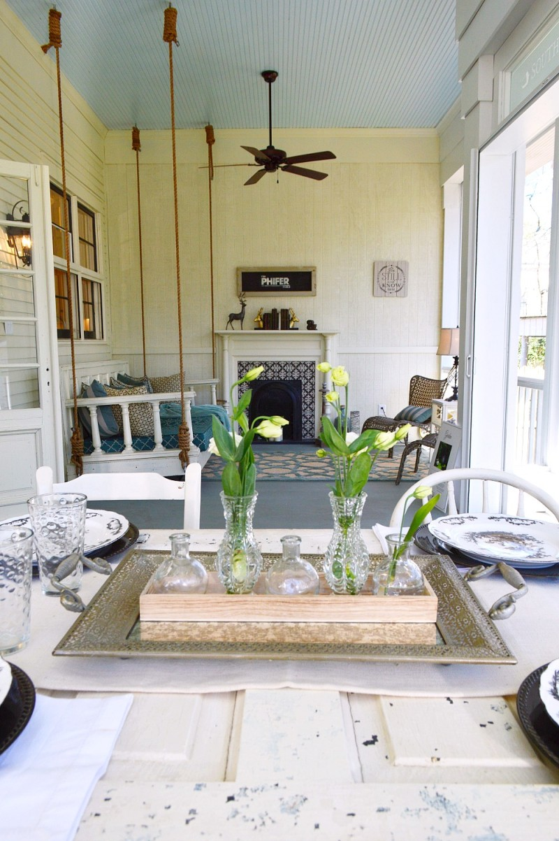 Southern Fixer Upper Makeover - Love the Haint Blue Planked Ceiling! Outdoor Fireplace and Hanging Daybed Porch Swing - Phantom Screens, Motorized Screens and Vinyl Covering